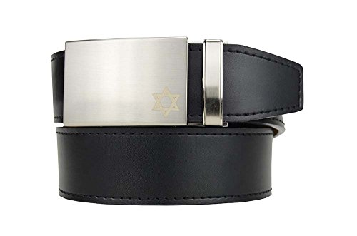 Nexbelt Faith Series Star of David Nickel Buckle with Smooth Black Leather Strap