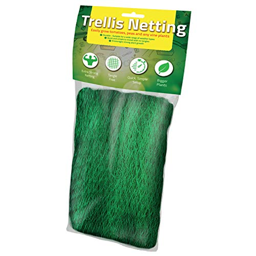 (Trellis Netting [Best Heavy Duty Net] Grow Garden Flowers, Green Pea, Cucumber, Tomatoes, Bean and Vine Plants [Support Plants for Strong Growth] Scrog Mesh Fence 5 x 60 Foot 1.5 x 18.2 Meters)