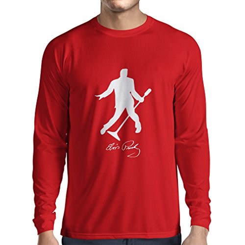 lepni.me Long Sleeve Men's T-Shirt I Love You Elvis - King of Rock and Roll 50s, 60s, 70s Fan Outfits (Large Red White) -