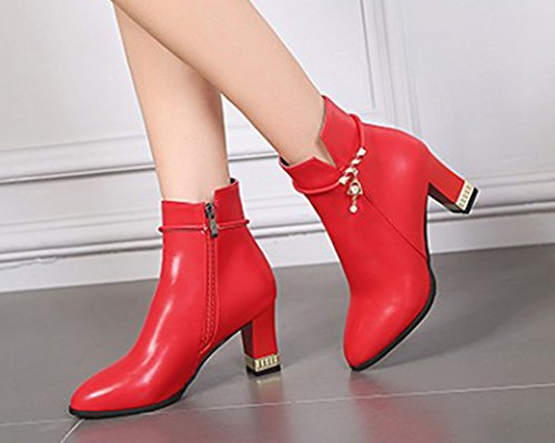 Sexy Bottines Rouge Cheville Strass Aisun Boots Femme Bout Low Chunky Pointu RqFZSx5gw