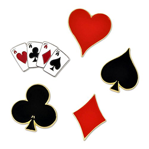 PinMart Heart Spade Aces Club Diamond Playing Card Suits Enamel Lapel Pin Set -