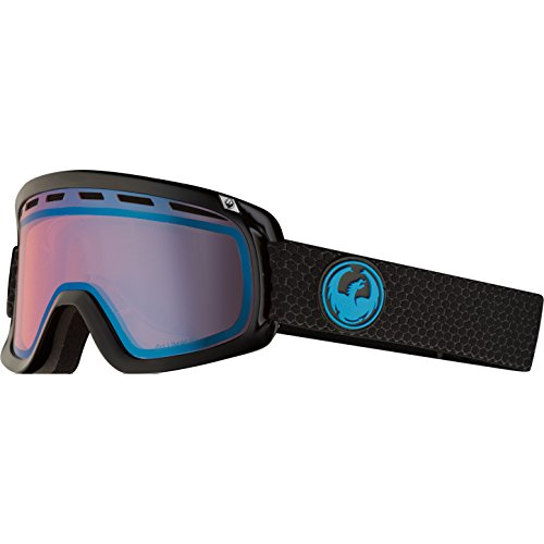 Dragon Alliance D1 OTG Ski Goggles, Black, Split/Luma Blue Ion Lens (Dragon D1 Lenses)