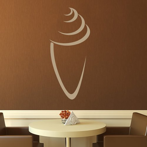 Ice Cream Cone Outline Wall Sticker Food Wall Decal Art available in 5 Sizes and 25 Colours Medium Lemon Yellow