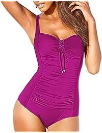 Women's Vintage Lace up One Piece Swimsuits Monikini Tummy Control Swimwear