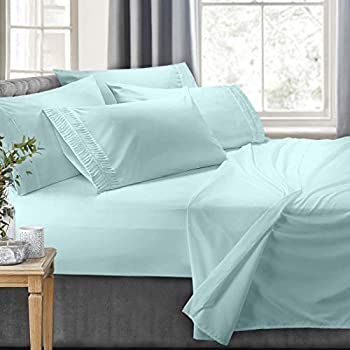 Clara Clark 6-Piece 100% Soft Brushed Microfiber Bedding Set Luxury Pleated Pillowcases, Cool & Breathable, 6 PC Sheets, King, Aqua