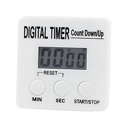 Temporizador de cocina eDealMax digital dígitos grandes fuerte alarma Soporte magnético y soporte retráctil Blanca