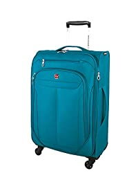 Swiss Gear Marumo Expandable Spinner Luggage 24-Inch, Teal, Checked – Medium (Model:SW12774029)