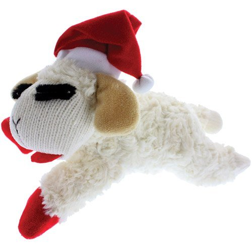 (Multipet Holiday Lambchop with Santa Hat Plush Dog Toy,)