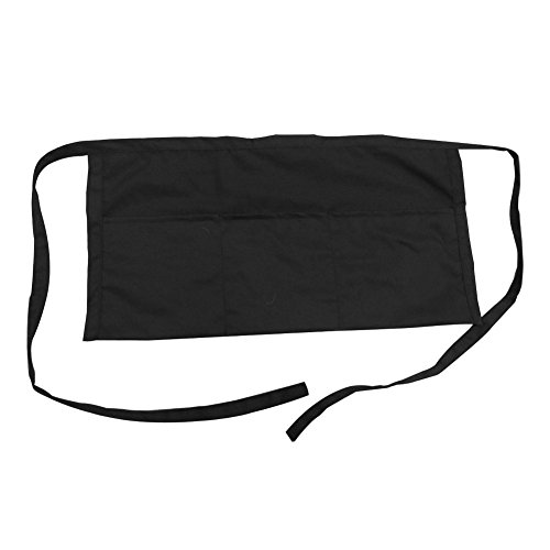 Opromo Adult's 3 Pocket Waist Apron, 23 1/2''W x 12''H BLACK-100PCS by Opromo