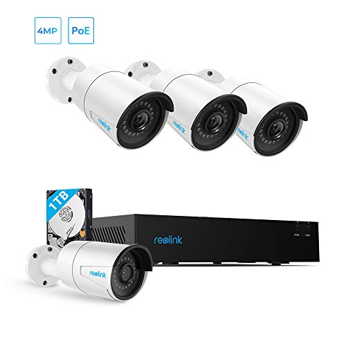 PoE IP Security System, 4MP NVR with 4pcs Outdoor 4MP PoE Cameras, 1TB Hard Drive Pre-Installed for 24/7 Recording and Playback, Support Audio, Night Vision, Motion Detection, PC/Mobile Remote Access