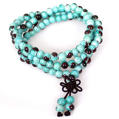 - Bracelet,108 Beaded Ceramic Fashion Vintage Prayer Mala Porcelain Buddhist Beads Elastic Necklace(blue porcelain beads)