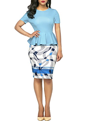 KISSMODA Womens Short Sleeve Work Bodycon Dress One Piece Midi Pencil Peplum Summer Dresses O Neck Light Blue Medium by KISSMODA (Image #3)