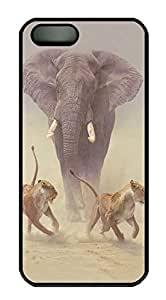iPhone 5 5S Case Elephant chasing off attacking lions PC Custom iPhone 5 5S Case Cover Black