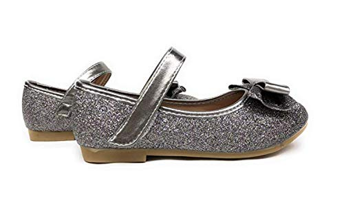 New Girls Rose Gold Silver Glitter Metallic Flats Dress Shoes Mary Jane Round Toe Kids (12 M US Little Kid, D Grey ()