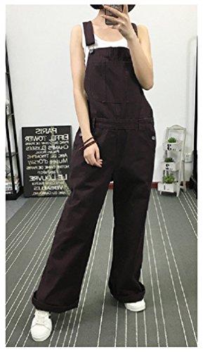 (Hanxue Women's Original Unlined Bib Overalls Jumpsuit Purple L)
