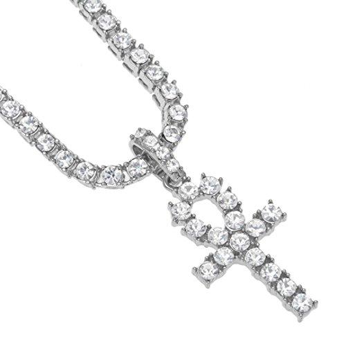 Elogoog Sliver Gold Plated Egyptian Ankh Key Cross Pendant Cool Men Rhinestone Crystal Chain Necklace 20