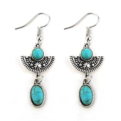 Simple Ethnic Costumes (Peony.T Women' Girls' Bohemia Ethnic Vintage Dangle Earring With Turquoise Bead Inlay (Ethnic-Silver))