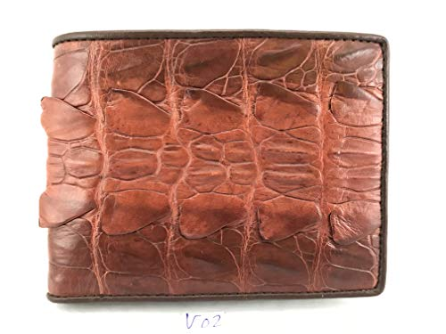 Handamde 1 Genuine Leather Men's Bifold Skin Brown Wallet V02 Crocodile xwFqYAwz