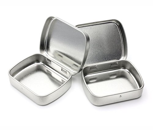 MagnaKoys Metal Hinge Top Tin Containers for Crafts Geocache Storage Survival Kit (pack of 3)