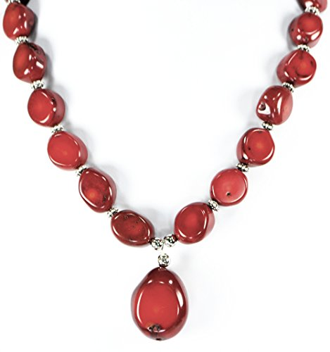 - Large Red Sea Coral Nugget & Pendant Necklace Silver Tone Toggle Clasp 18
