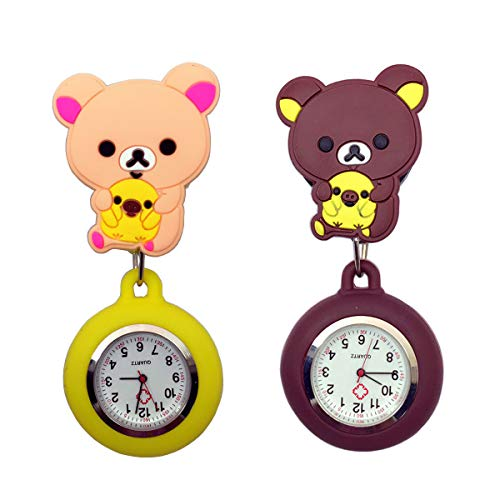 Cute Cartoon Bear Silicone Nurse Clip-on Fob Brooch Hanging Easy Pull Clasp Stretch Analog Quartz Pocket Watch for Girls and Kids Yellow and - Lapel Chain Watch