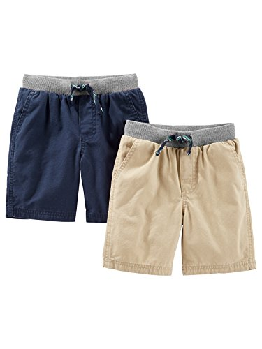 Simple Joys by Carter's Baby Boys' Toddler 2-Pack Shorts, Khaki, Navy, 2T ()