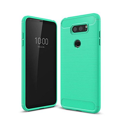 Funda LG V30,Funda Fibra de carbono Alta Calidad Anti-Rasguño y Resistente Huellas Dactilares Totalmente Protectora Caso de Cuero Cover Case Adecuado para el LG V30 E