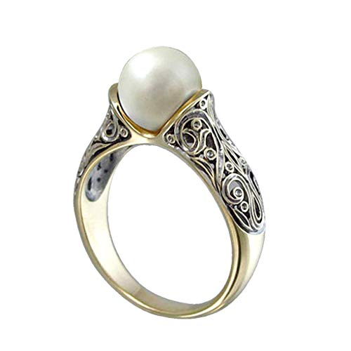 (ballboU-Elegant Faux Pearl Gold Tone Retro Flower Carved Women Ring)