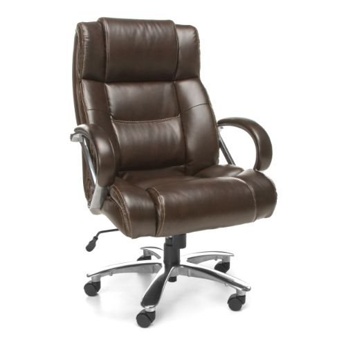 OFM Avenger Series Big and Tall Leather Executive Chair - Brown Computer Chair with Arms, Brown/Chrome (810-LX-BRN)