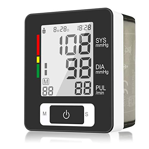 Digital Wrist Blood Pressure Monitor for Health Monitoring with 90 Readings Memory Function, 2-User, LCD Large Screen, Accurate Fast Reading, Adjustable Cuff- FDA Approved