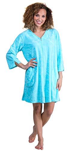 Miss Elaine Micro Terry Short Zip Robe (833008) L/Bright Blue