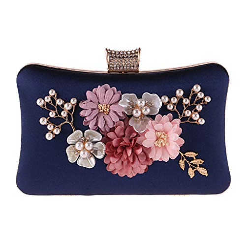 r Clutch Shoulder Bag Beaded Evening Bag Handbag for Party Wedding Evening Purse (BL) ()