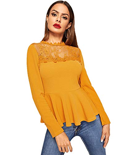 Romwe Women's Lace Mesh Round Neck Pleated Elegant Slim Fit Peplum Top Shirt Blouse Ginger Small ()