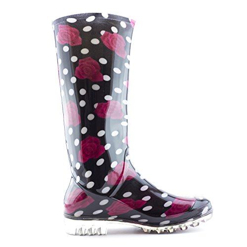 Red Rose Black Women's Four Adults Black Boots Season Outdoor Rain Easy ptI6qx