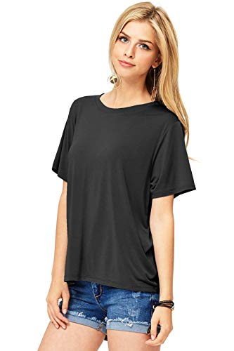 (Double Zero Women's Basic Relax Fit Short Sleeve Tee (M, Black))
