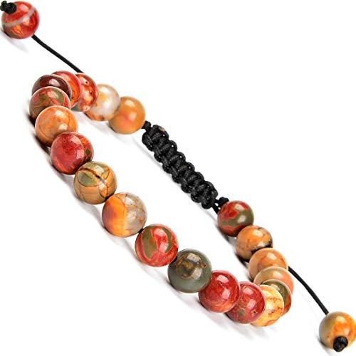 Massive Beads 8mm Natural Picasso Jasper Artistic Braided Macrame Bracelet Gift