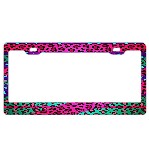 - Hopes's Auto License Plate Frame License Plate Frame Car Tag Standard Size US CAN Carplate Frame 12×6 inches - Neon Rainbow Zebra Print