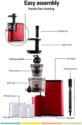 Devanti Cold Press Slow Juicer Processor Mixer Extractor