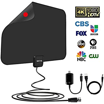 ... Digital TV Antenna with Long 60-80 Miles Range-Support 4K 1080P HD VHF UHF & All TVs with Detachable Amplifier Signal Booster and 13.5ft Coaxial Cable