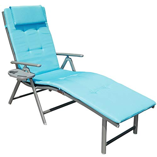 GOLDSUN Portable Outdoor Aluminum Folding Lounger Adjustable Chaise Lounge Chair for Outdoor Patio Beach Porch Swing Pool (Single with Blue Cushion)