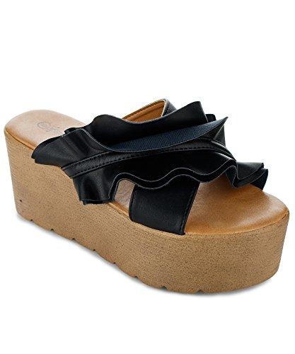 RF ROOM OF FASHION Women's Slide on Ruffled Wedge - Comfort Chunky Platform - Open Toe Casual Sandals Shoes Black (7) (Wedge Wood Sandal)
