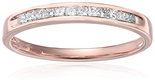 Amazon CollectionAlianza de boda de oro rosa de 14 quilates con diamantes de corte princesa (1/4 quilates, I-J, color I2-I3...