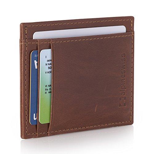 5 Id Wallet Case - Alpine Swiss RFID Mens Thin Minimalist ID Card Case Slim Front Pocket Wallets 5 Top Styles Vertical ID Brown