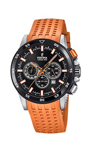 Men's Watch Festina - F20353/6 - CHRONO BIKE 2018 - Chronograph - Date - AM/PM - Orange Rubber Strap