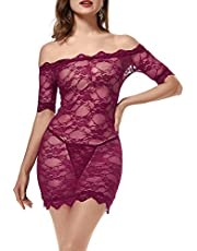 LINGERLOVE Women Plus Size Sexy Lingerie Chemise Floral Lace Babydoll See Through Bodysuit