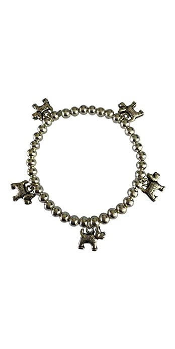 d17557948 Silver Plated Westie Scottie Dog Five Charm Stretch Beaded Bracelet - Size  20cm Large: Amazon.co.uk: Jewellery