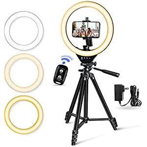"""Best Epic Trends 41XnZy56TkL._SS300_ 10"""" LED Selfie Ring Light with Stand and Phone Holder, Torjim Dimmable Circle Light for Photography, Makeup, Vlogging…"""