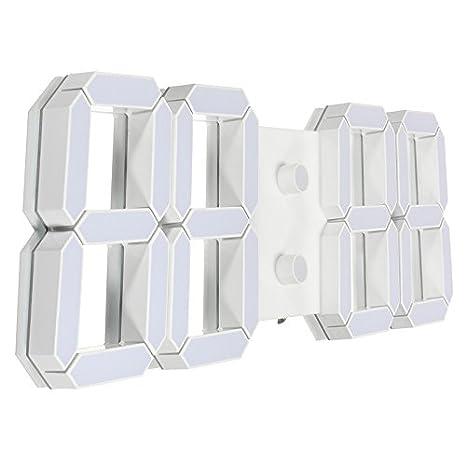 MYAMIA Gran Diseño 3D Digital Led Pared Esqueleto Reloj 12/24 Horas Pantalla-Blanco: Amazon.es: Hogar