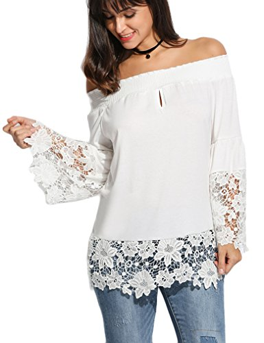 Womens Cut Out Shoulder Lace T-Shirt Long Sleeve Patchwork Tops XL (Flare Lace Blouse)