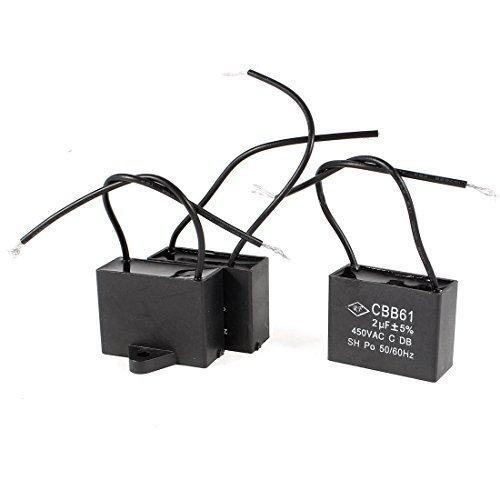 - EbuyChX a14030700ux0933 AC450V 2uF Wired metalized Polypropylene Film Motor Capacitor, 3 piraso